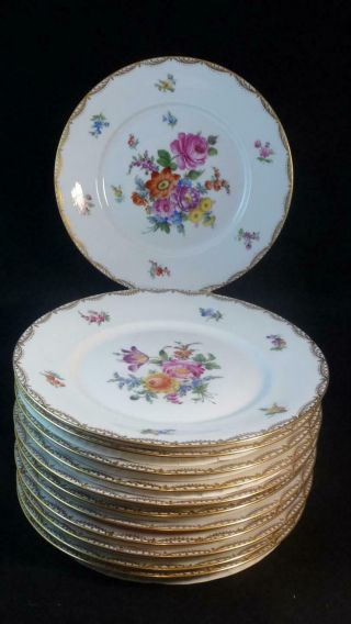 "Qty 12 Ambrosius Lamm Dresden Hand Painted Floral 10 "" Dinner Plates C1930"