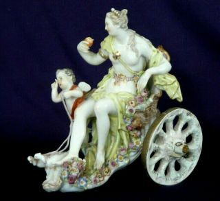 19th Century Meissen Porcelain Figural Group Of Venus And Chariot - Minor Damage