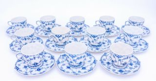 12 Cups & Saucers 1035 - Blue Fluted Royal Copenhagen Full Lace - 3rd Quality