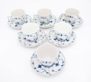 6 Large Teacups & Saucers 78 - Blue Fluted Royal Copenhagen - Half Lace