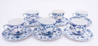 6 Cups & Saucers 1035 - Blue Fluted - Royal Copenhagen - Full Lace