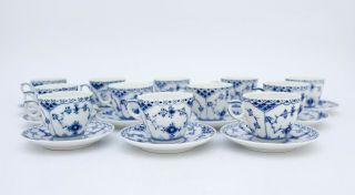 12 Cups & Saucers 528 - Blue Fluted Royal Copenhagen - Half Lace - 1:st Quality