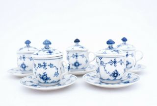 5 Cremecups With Lids & Saucers 64 - Blue Fluted Royal Copenhagen 1:st Quality