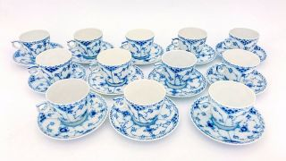 12 Cups & Saucers 719 - Blue Fluted Royal Copenhagen - Half Lace - 2nd Quality