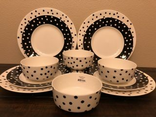 Kate Spade Primrose Drive Dot 12 Pce Set Black White Dinner & Salad Plates Bowls