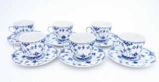 6 Cups & Saucers 1035 - Blue Fluted Royal Copenhagen Full Lace - 3rd Quality