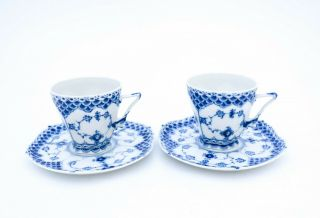 2 Cups & Saucers 1036 - Blue Fluted Royal Copenhagen Double Lace