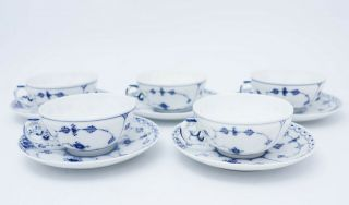 5 Teacups & Saucers - Blue Fluted Royal Copenhagen - Half Lace 1st Quality