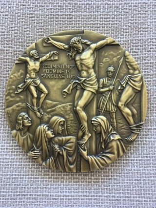 Antique And Rare Bronze Medal Of Death And Resurrection Of Christ,  1983