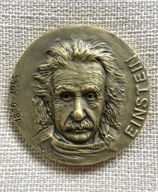 Antique And Rare Bronze Medal With High Reliefs Of Einstein,  1978