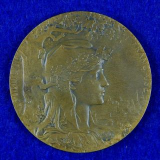 Antique France French 1900 Exposition Bronze Table Medal