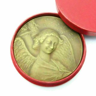 Antique French Bronze Smiling Guardian Angel Of Reims Art Medal