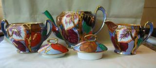 Stunning Hi Deco 5 Piece Noritake Tea Set Floral Leaves Lustre Pot Creamer Sugar
