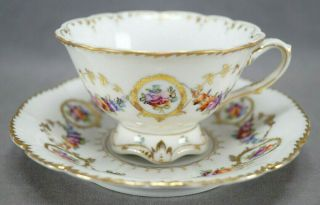 Dresden Hand Painted Floral & Gold Garlands Footed Tea Cup & Saucer B