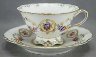 Dresden Hand Painted Floral & Gold Garlands Footed Tea Cup & Saucer A