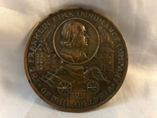 Antique Medal 1919 Franklin Fire Insurance Company 90th Anniversary Bronze Paper