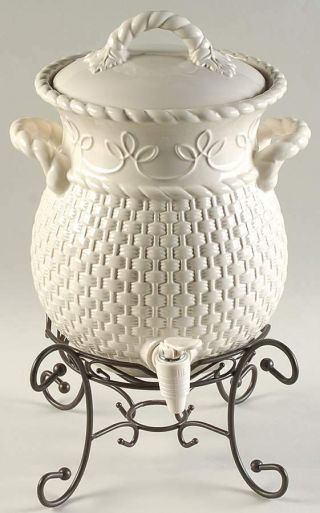 Home And Garden Party Veranda Basket Weave Beverage Dispenser Complete