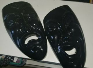 Royal Heager Pottery Wall Pocket Theater Comedy Tragedy Masks Pair Black 2pc