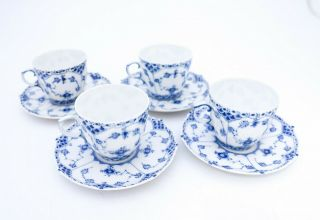 4 Cups & Saucers 1035 - Blue Fluted Royal Copenhagen Full Lace - 4th Quality