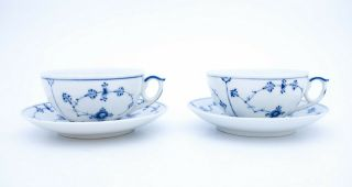 2 Teacups & Saucers 315 - Blue Fluted - Royal Copenhagen