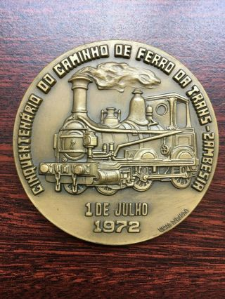 Antique And Rare Bronze Medal Of Trans - Zambesia Railway,  From 1972