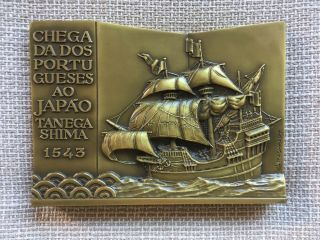 Antique Rare Bronze Medal Of The Arrival Of The Portuguese In Japan