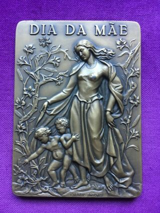 Antique Rare Bronze Medal Of Mother´s Day Made By Cabral Antunes