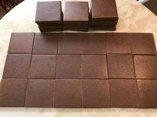 "37 Vintage Heath Ceramic 3"" Tiles Brown Matte Rough Finish"