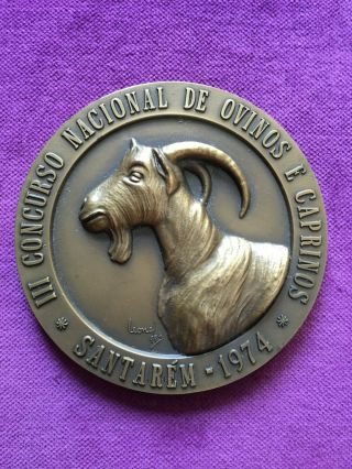 Antique Rare Bronze Medal Of Third National Sheep And Goats Competition,  1974