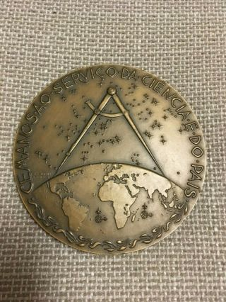 Antique And Rare Bronze Medal Of Geography Society Of Lisbon,  1975