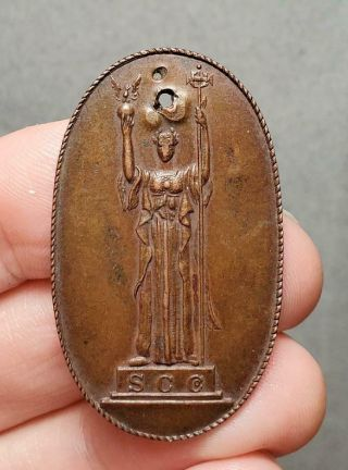 Antique 1893 Columbian Exposition Sc Co.  Elongated Copper Medal Or Coin
