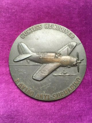 Antique And Rare Bronze Medal Of Curtiss Helldiver