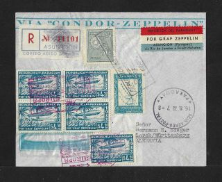 Zeppelin Paraguay To Germany Block On Air Mail Cover 1933