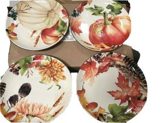"Better Homes Gardens Stoneware Assorted Botanical 8 - 1/2 "" Salad Plate 12 Piece"