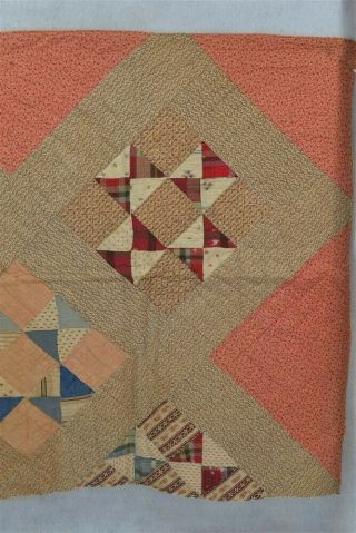 Antique Early Quilt Piece Pink Brown Handmade Patchwork Doll Bed 19thc 1800
