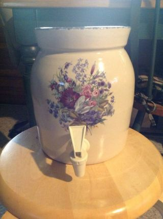 "Home And Garden Beverage Jug,  Floral.  8.  75 "" H X 6.  5 "" Diam.  W/ Lid And Spout"