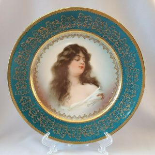 Royal Vienna Austria Lady Portrait Cabinet Plate Green Red Gold Signed