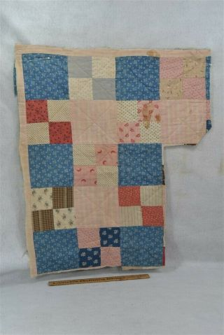 Antique Early Quilt Piece Blue Red Handmade Patchwork Doll Bed 19thc 1800