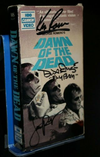 Dawn Of The Dead Signed Vhs Tape - 3 Cast Signatures - Jsa Certified - Romero
