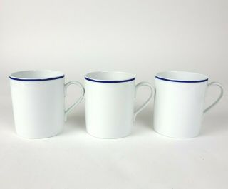 Set Of 3 Apilco Tuileries Blue Band Mugs Pristine France 3 - 5/8 ""