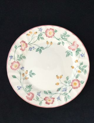 "Set Of 8 Churchill Briar Rose Pink Rim Floral Scalloped 10 "" Dinner Plates"