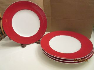 "Four Lenox Kate Spade Rutherford Red 9 3/8 "" Luncheon Plates;,"
