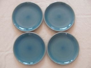Better Homes & Gardens - Canvas Teal - Blue/teal & Gray - Set Of 4 Dinner Plates