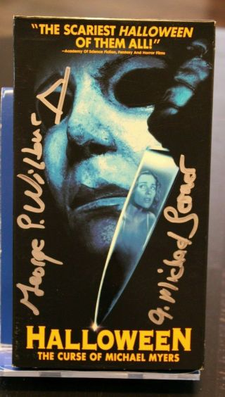 Halloween 6 Comm Signed Vhs Tape - (2) Jsa Certified Autographs George P Wilbur
