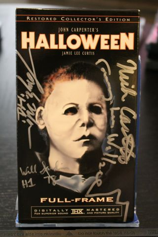 Halloween Signed Vhs Tape - (4) Jsa Certified Autographs - Nick Castle & More
