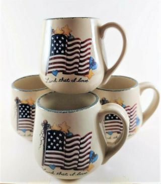 Home & Garden Party Stoneware 4 American Flag Land That I Love Mugs Cups