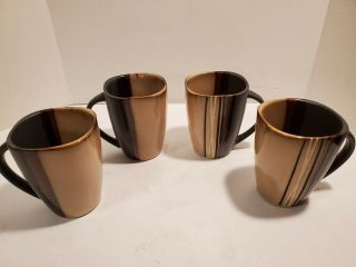 "Set Of 4 Better Homes And Gardens Bazaar Brown Coffee Cup 4 3/4 "" 4.  75 """