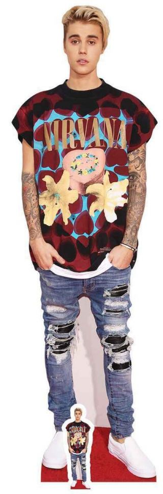 Justin Bieber With Ripped Jeans Lifesize And Mini Cardboard Cutout / Standup