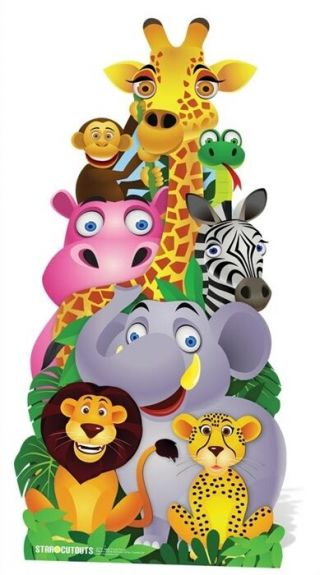 Jungle Pile Up Cardboard Cutout Stand Up.  Great For Animal Themed Events Parties