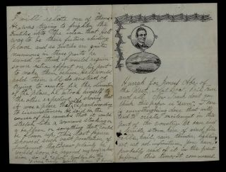 1860 Chicago,  Il - Abe Lincoln Letterhead,  Big Tornado & Mormons - Awesome Find